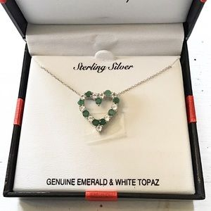 Emerald and White Topaz Heart Pendant Necklace 💚